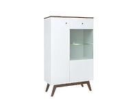 Шкаф REG1D1W с подсветкой лиственница сибирская золотая / белый HEDA